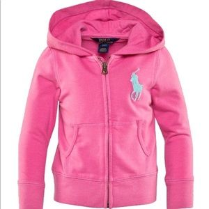 Ralph Lauren Girl Ultra Pink Terry Full Zip Hoodie
